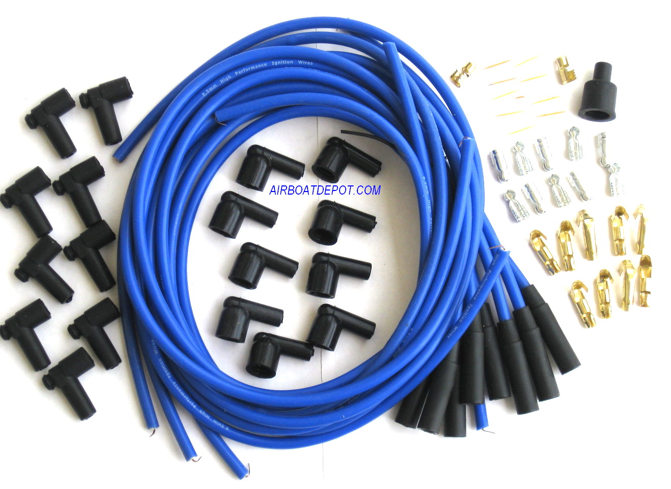 Spark Plug Wire Set, Blue, Boot/Plugs, 8.5mm 180º, Rated at 600ºF on