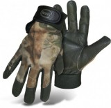 BOSS® TRAIL WISE® 330GMO Camouflage Mossy Oak Pigskin Shooter Flexi Gloves, Poly/Cotton/Leather, Adjustable Wrist Closure, Keystone Thumb, Available Sizes: L & XL, Price Per Pair