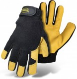 BOSS® GUARD™ 4048 Mechanic, Premium Goatskin Leather, Adj. Wrist Black/Tan Gloves, Double Stitched in High Wear Areas, Elastic Spandex Back, Wing Thumb, Vented Fingers, Available Sizes: M, L & XL, Price Per Pair