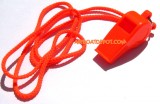 SAFETY WHISTLE W/Lanyard & Ring, Pea-less, Orange, Meets U.S.C.G. Requirements On Inland Boats Under 5 Meters, Each