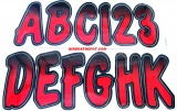 "HARDLINE® Number & Letter Kit 3"" Black & Red Shaded, Meets USCG Requirements, Each"