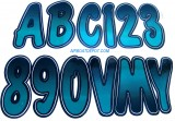 "HARDLINE® Number & Letter Kit 3"" Black & Teal Shaded, Meets USCG Requirements, Each"