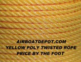 "BUCCANEER 3/8"" DIA., 3 Strand Twisted 100% Monofilament Polypropylene Rope, Yellow, Price Per 5' (Foot) Cut From The Spool"