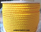 "3/8"" DIA. X 600' Spool, 3 Strand Twisted 100% Monofilament Polypropylene Rope, Yellow, Each"