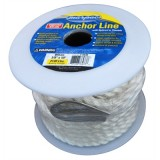"TWISTED NYLON WHITE 3/8"" X 50' SPOOL OF ANCHOR ROPE W/ SPLICED IN THIMBLE"