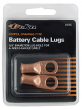 "DEKA® 00544 Flared Battery Copper Lugs, 2 Gauge, 3/8"" Stud Hole, UL Listed, 2 Per Pack"