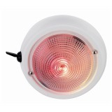 "PERKO® 1263DP1 4"" Lens Dia. Dome Light, White Bezel, Red & White Bulbs, 3 Position Toggle Switch, Exterior Surface Mount, Each"
