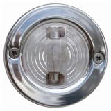 7-0577 Round Transom Light, Polished Stainless Steel, Clear Lens, 2 Mile Visibility, W/Rubber Mounting Gasket, Each