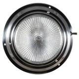 "7-0601 5"" Lens Dia. Dome Light, Polished Stainless Steel, With Solid Glass Lens & Bulbs, On/Off Switch, Exterior Surface Mount, Each"