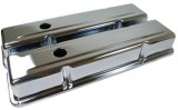 "RPC® R9216 ""Short"" Chrome Plated Baffled Valve Cover Set W/ (1) Breather, (1) PVC Grommet & (1) Decal, 2-5/8"" H, SB Chevy 283- 350 C.I.D. (58-86)"