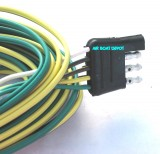 "WB-002235 WESBAR® Wishbone Trailer Wiring Harness 4 Way-Flat 18 Ga, 35' Long, With 32"" Ground, Male End Connector, Color Coded"