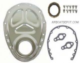 RPC® R4932 Chrome Timing Chain Cover Set, W/Seal, Gaskets & Bolts, SB Chevy 283-350 C.I.D.