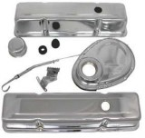 "RPC® R3023 ""Short"" Chrome Steel Engine Dress-Up Kit Fits SB V8 Chevy 283-350 (58-86)"