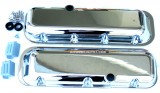 "RPC® R6231-2C ""Short -Plain w/Hole"" Chromed Aluminum Valve Cover Set W/ (1) Breather, (1) PVC Grommet, (2) Baffles & (1) Stainless Steel Bolt Kit, 2-7/8"" H, BB Chevy 396-502 C.I.D. (65-95)"
