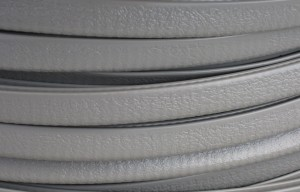 "Gray Rubber Trim, Flexible PVC W/ Aluminum Inner Clip, 1/8"" X 9/16"" Wide X 25' Long"