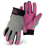BOSS® Dig-In™ 790 Ladies Mechanic/Garden Split Leather Palm, Adj. Wrist Gloves, Elastic Poly Spandex Back, Vented Fingers, Keystone Thumb, Available Sizes & Colors: Pink, Lavender or Mint, M & L, Price Per Pair
